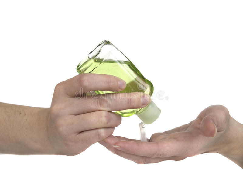 butelki ręki sanitizer ściśnięcie obrazy stock