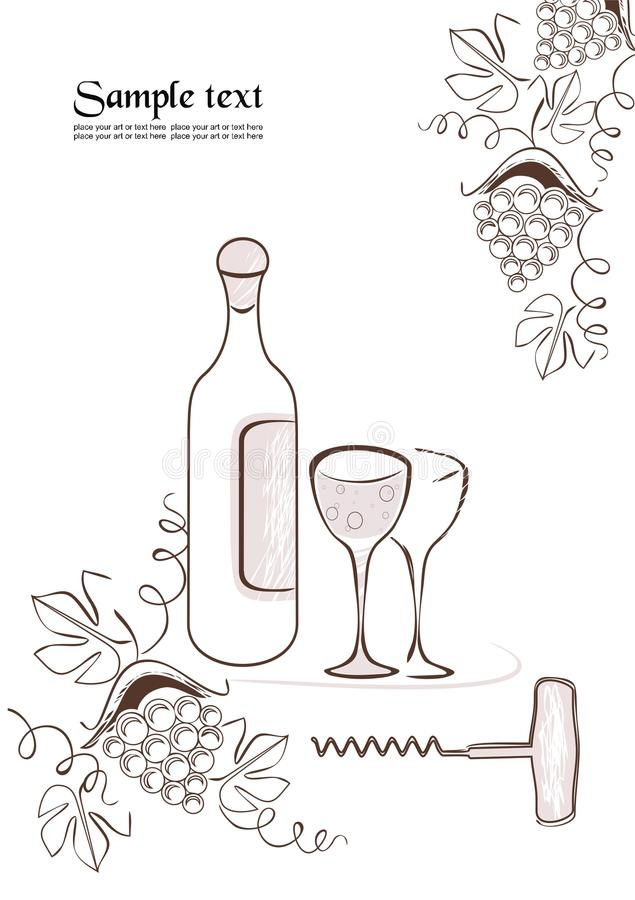 butelki rysunkowi szkieł winogrona ja vector wino royalty ilustracja