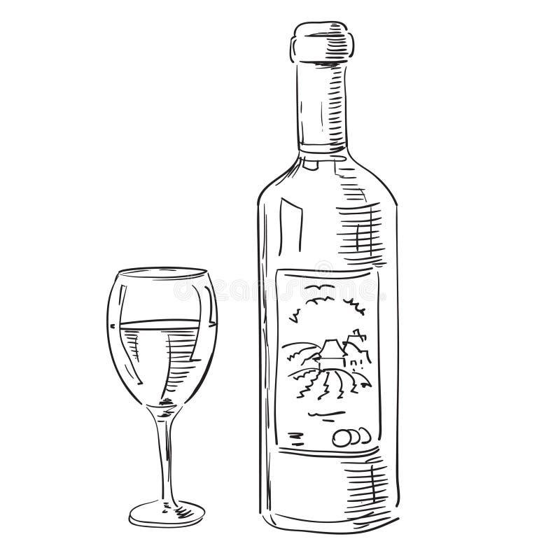 butelki szkła wino ilustracja wektor