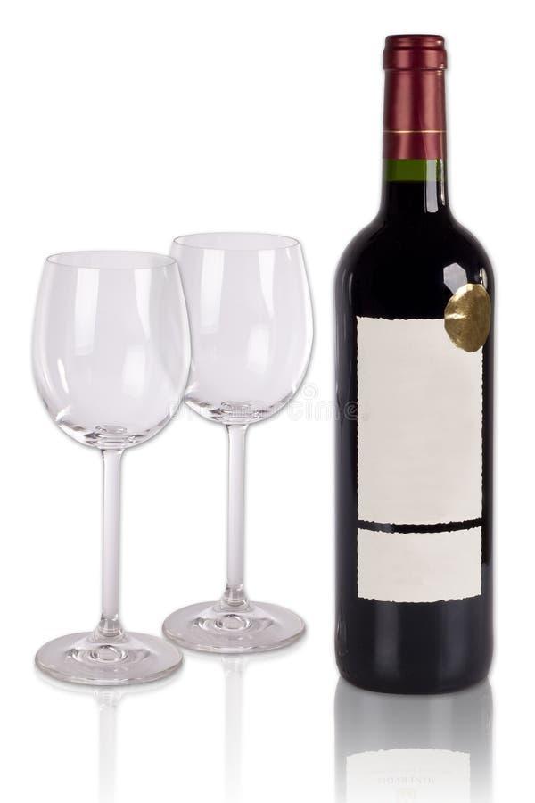 butelki szkieł wino obraz stock
