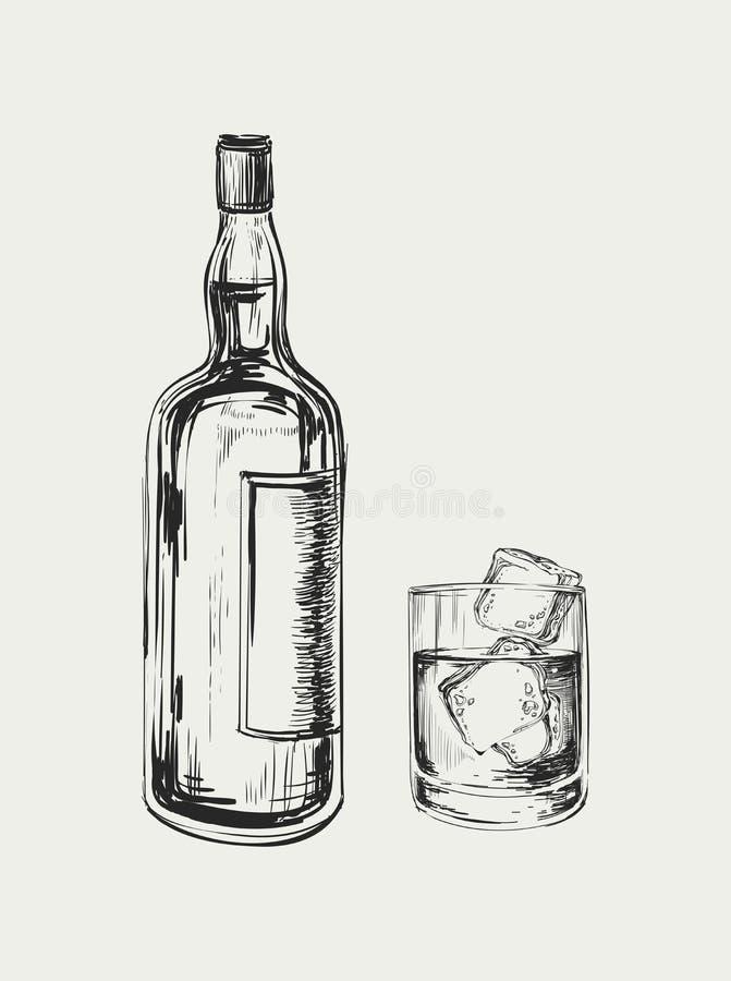 butelki szklankę whisky Ręka Rysująca napoju wektoru ilustracja ilustracja wektor