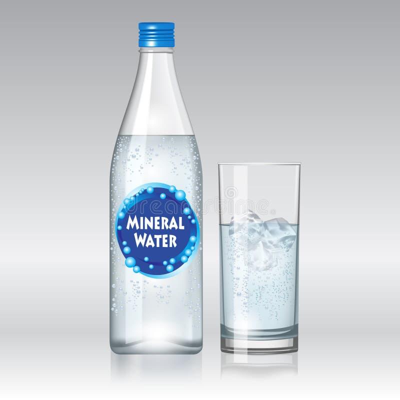 butelki szklanki lodu miętówki skał wody mineralne ilustracja wektor