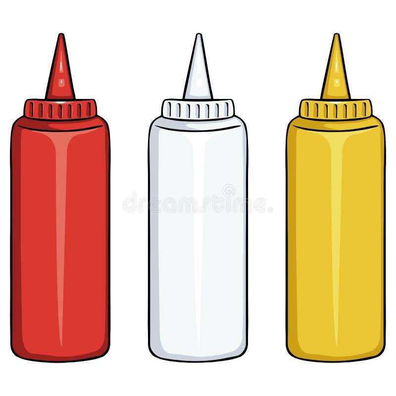 butelki ustawiający wektor Ketchup, Mayo, musztarda ilustracji