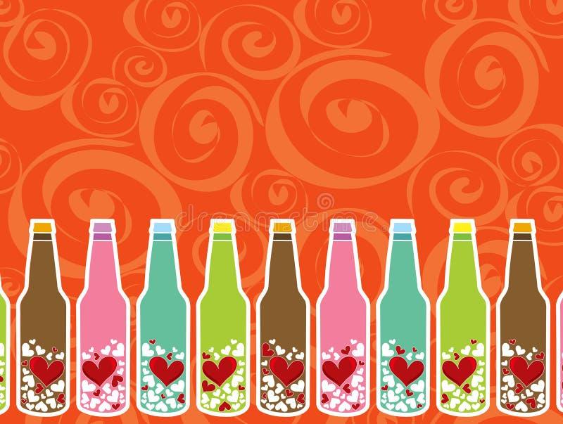 butelki wiadomości miłość royalty ilustracja