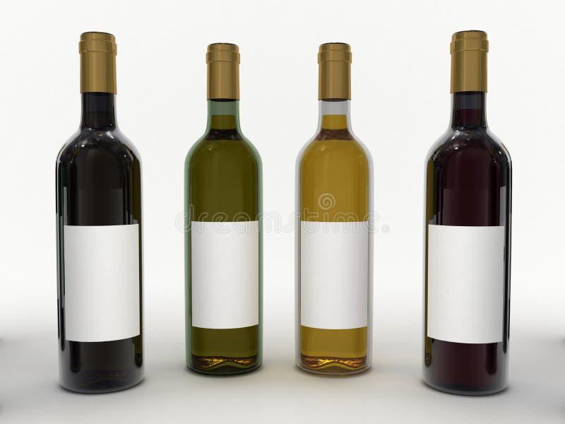 butelki wina ilustracji