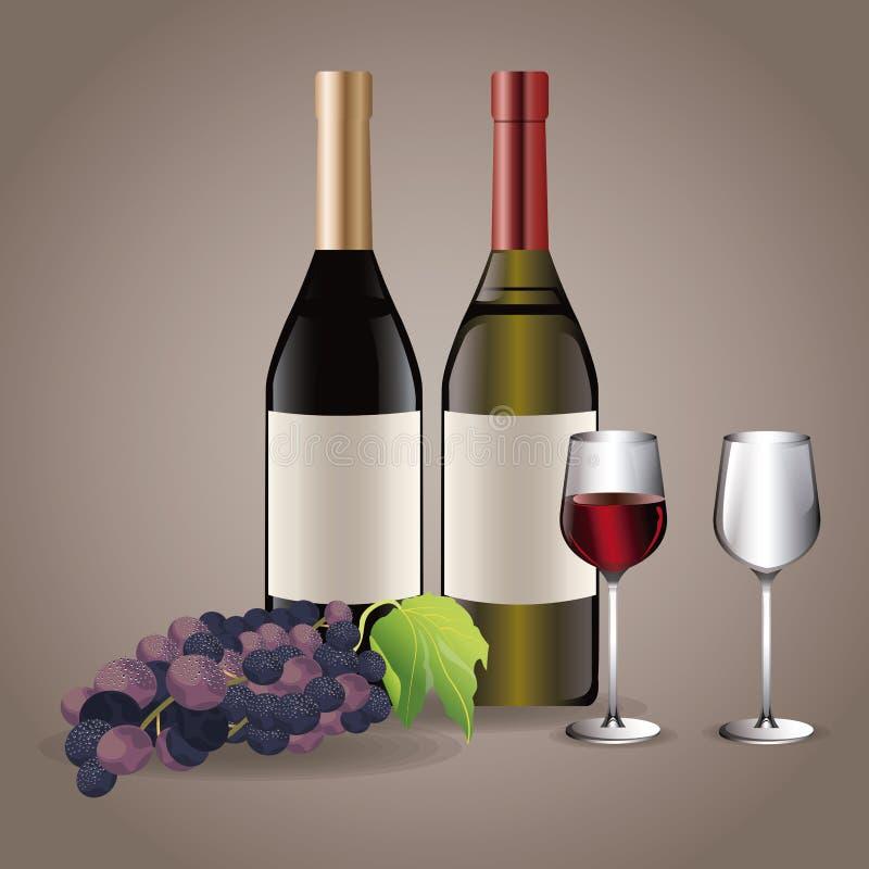 Butelki wina szkła filiżanek napoju wizerunek ilustracja wektor