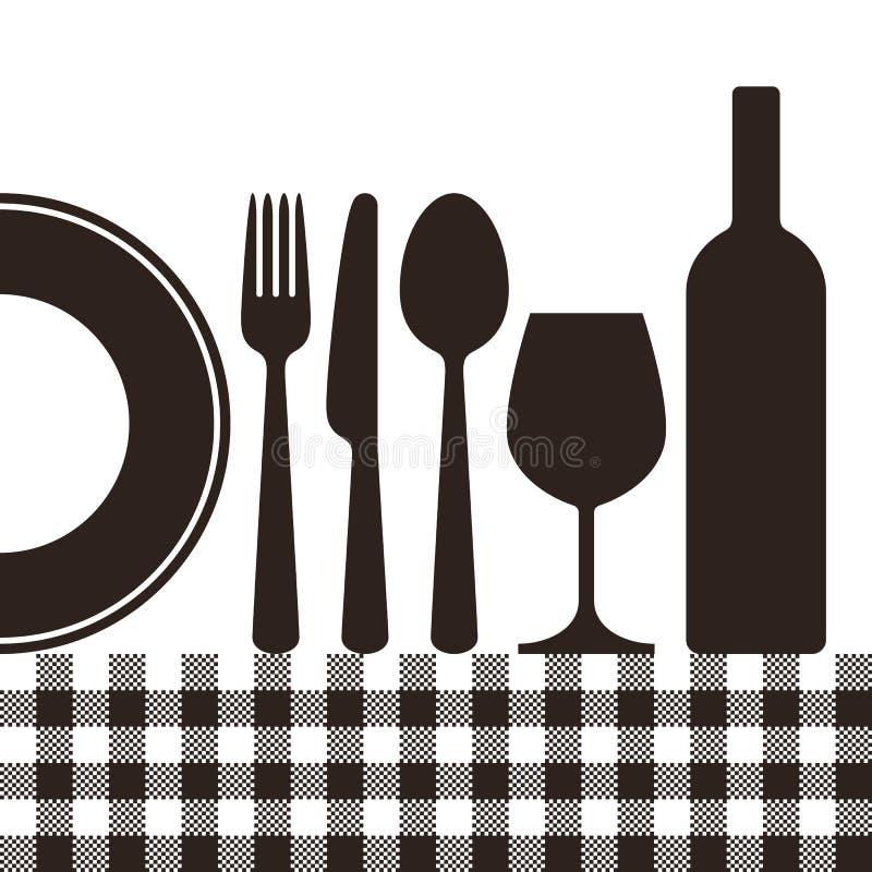 Butelki, wineglass, talerza, noża, rozwidlenia, łyżki i tablecloth patt, royalty ilustracja