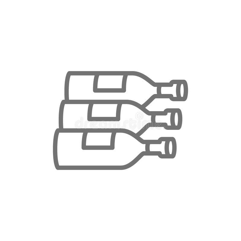 Butelki, wino, alkohol kreskowa ikona ilustracji