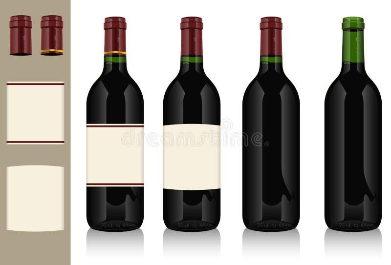 butelki wino cztery ilustracja wektor