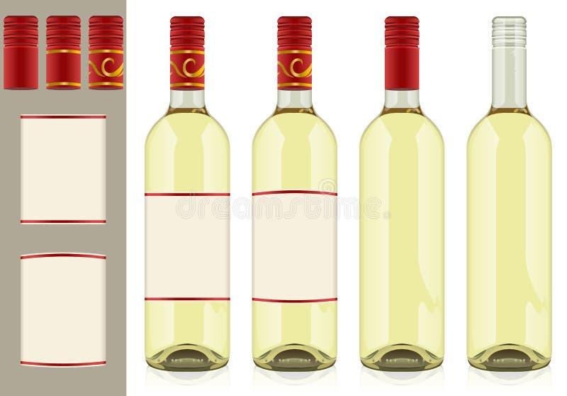 butelki wino cztery ilustracji
