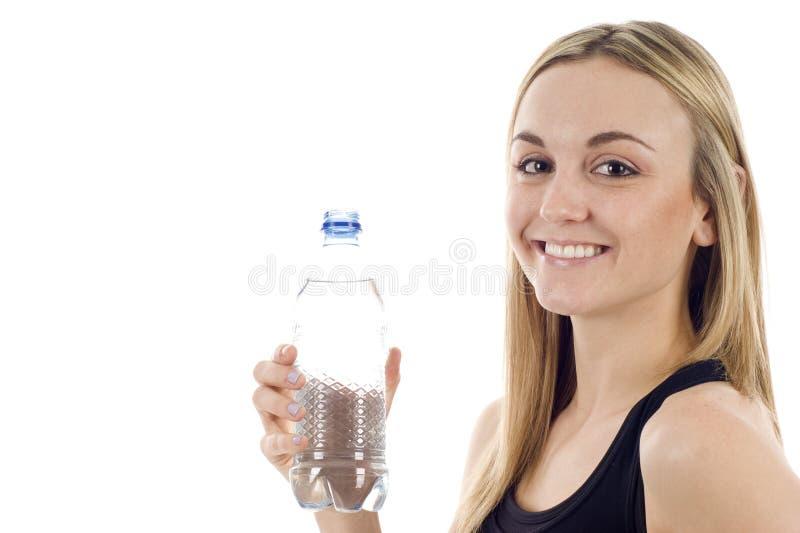 butelki wody kobieta zdjęcie royalty free