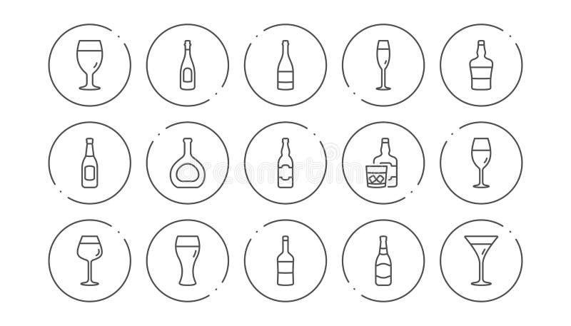 Butelki wyk?adaj? ikony Piwni napoje, wina szk?o i whisky butelka, Liniowy ikona set wektor royalty ilustracja