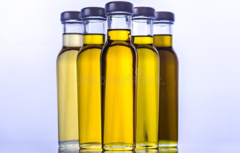 Butelki z różnymi rodzajami jarzynowy olej zdjęcie royalty free