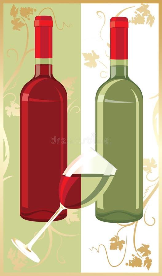 Butelki z winem i szkłem między one czerwonym i białym royalty ilustracja