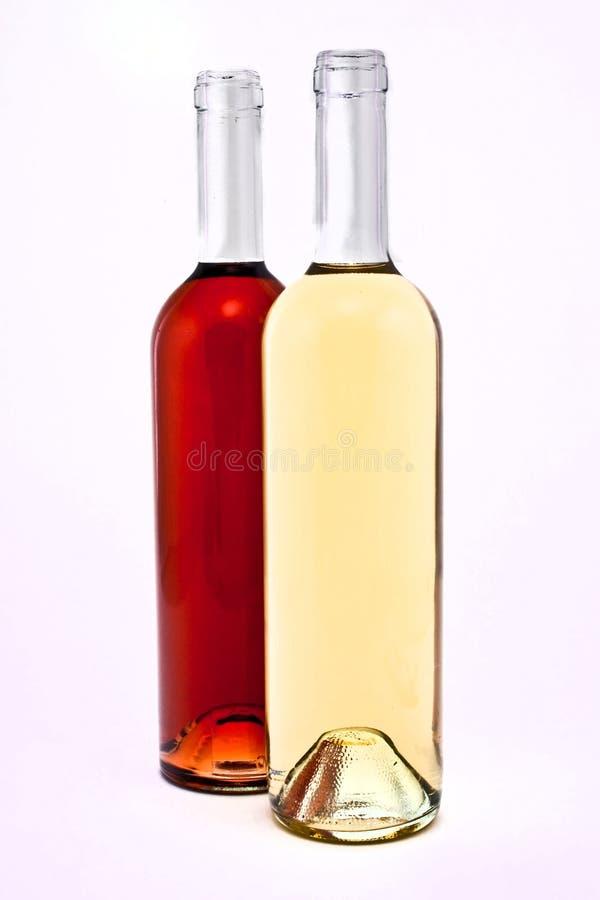 butelkuje czerwonego biały wino obrazy royalty free