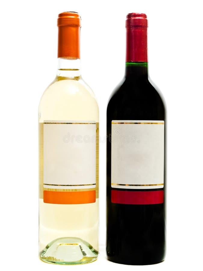 butelkuje czerwonego biały wino zdjęcie royalty free