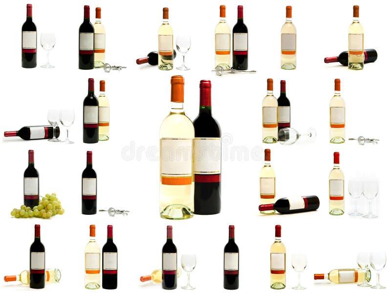 butelkuje czerwonego ustalonego biały wino zdjęcia royalty free