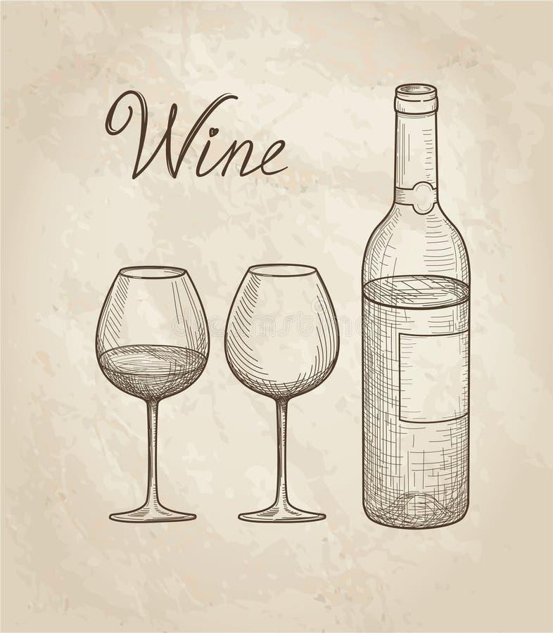 butelkuje szkła ustawia biały wino siedem sześć Wina szkło, butelka, pisze list Winnicy retro tło royalty ilustracja