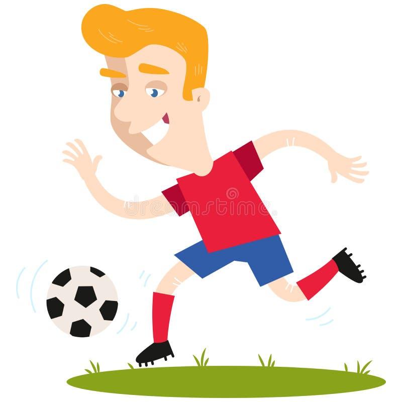 Buteur caucasien blond du football de bande dessinée courant et donnant un coup de pied la boule illustration de vecteur