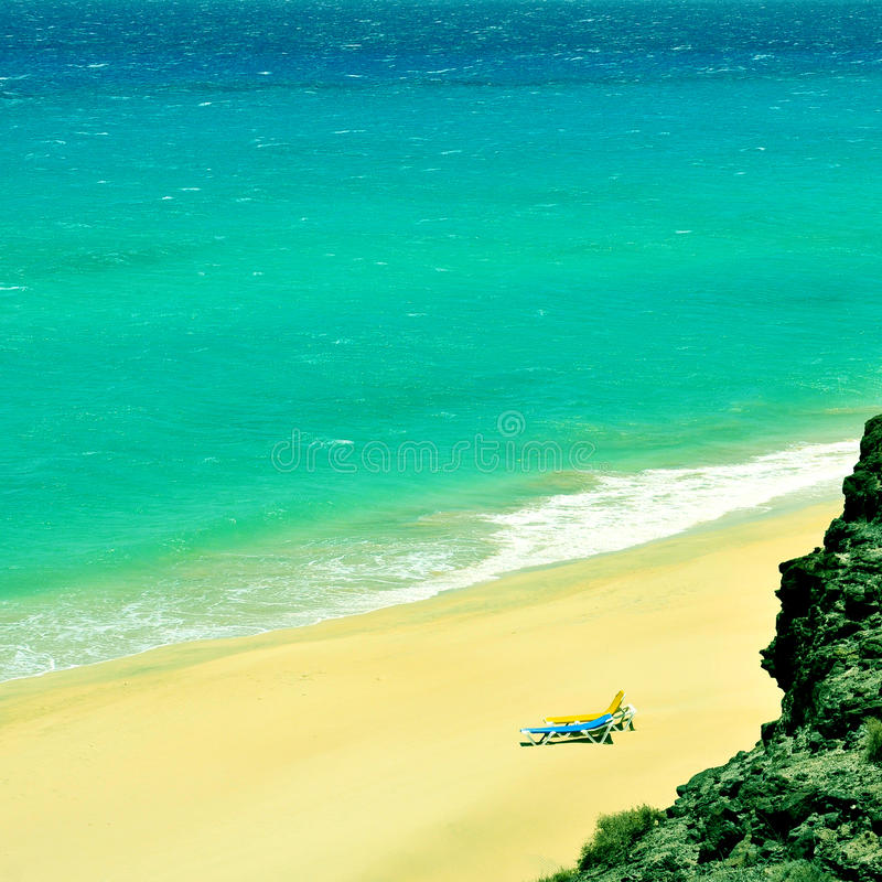 Butihondo海滩在费埃特文图拉岛,加那利群岛,西班牙 免版税图库摄影