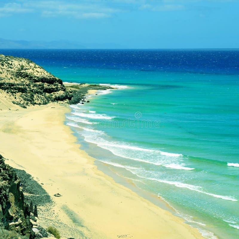 Butihondo海滩在费埃特文图拉岛,加那利群岛,西班牙 免版税库存照片