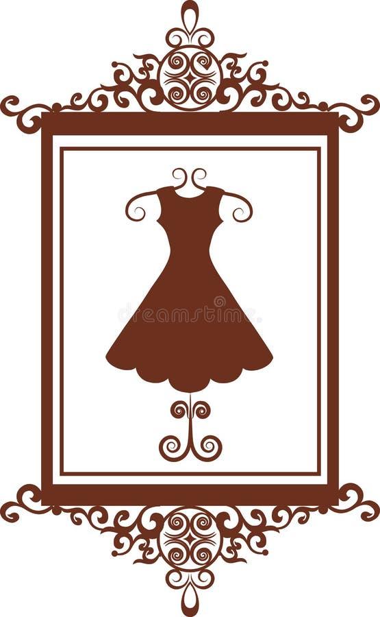 butika sukni mody znak ilustracja wektor