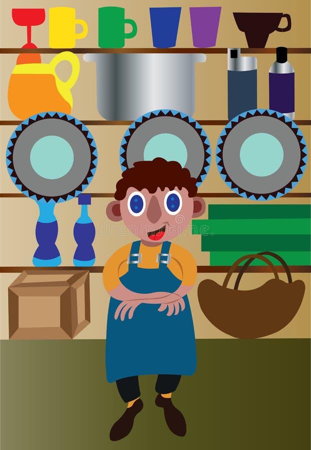 Butiksinnehavaren på hans shoppar stock illustrationer
