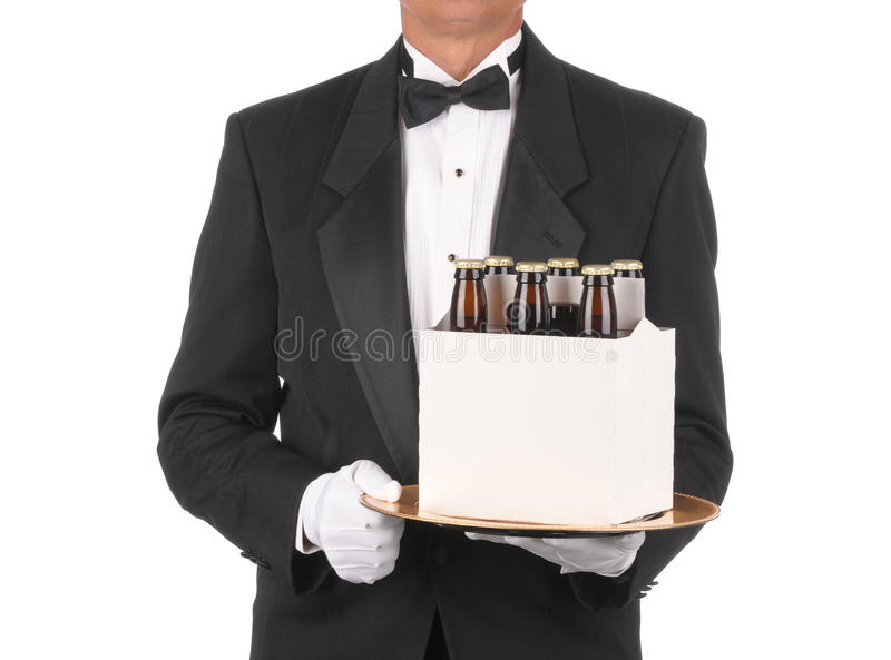 Download Butler with Beer on Tray stock image. Image of torso - 13871031