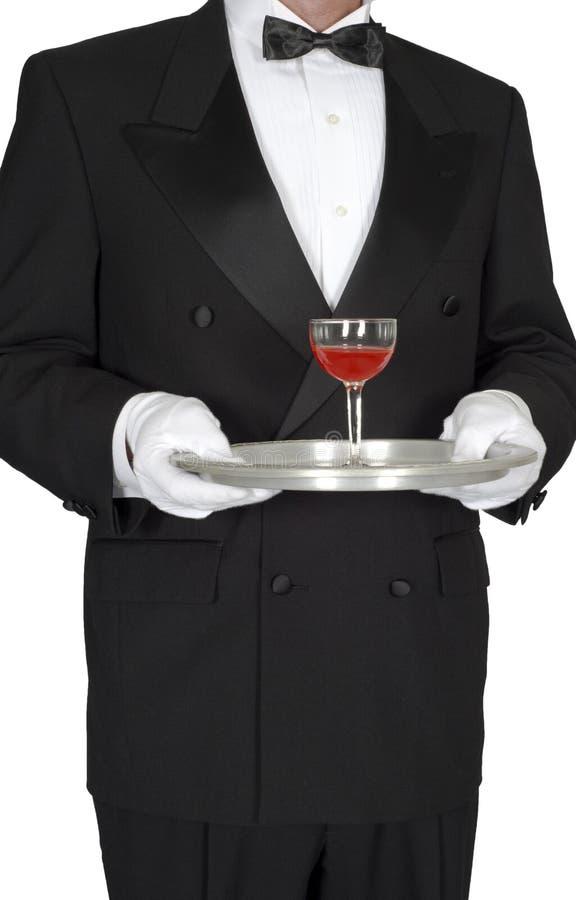 Butler, camarero, servidor, copa de vino aislada fotografía de archivo