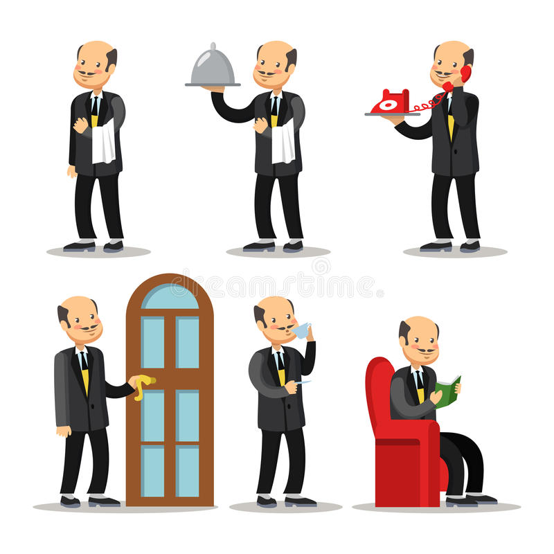 Free Butler Cartoon Set. Man With Serving Tray Royalty Free Stock Image - 89366726