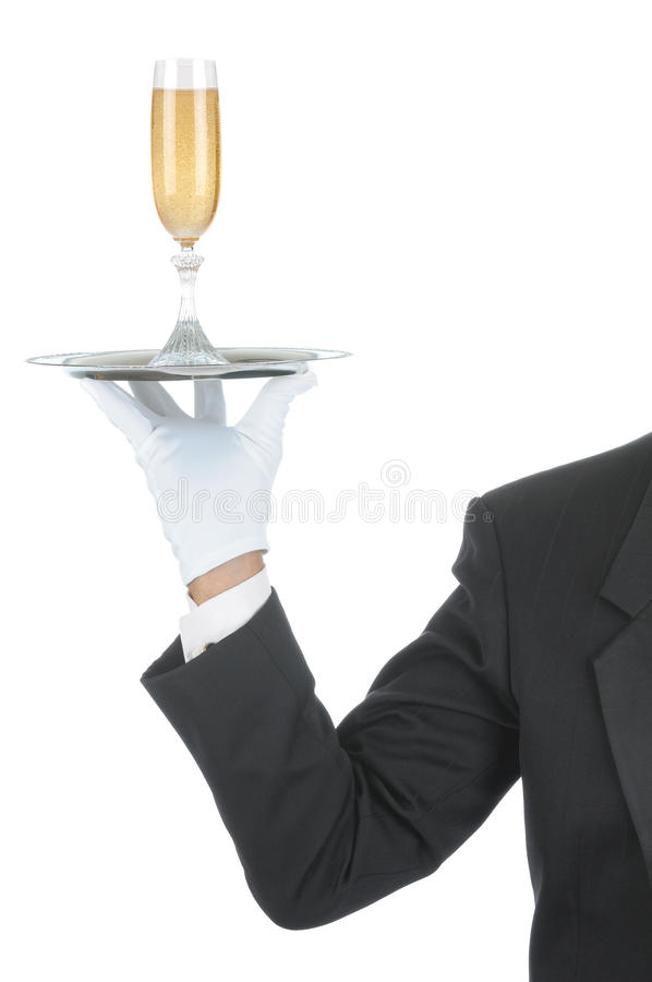 Butler with Champagne on Tray stock photos
