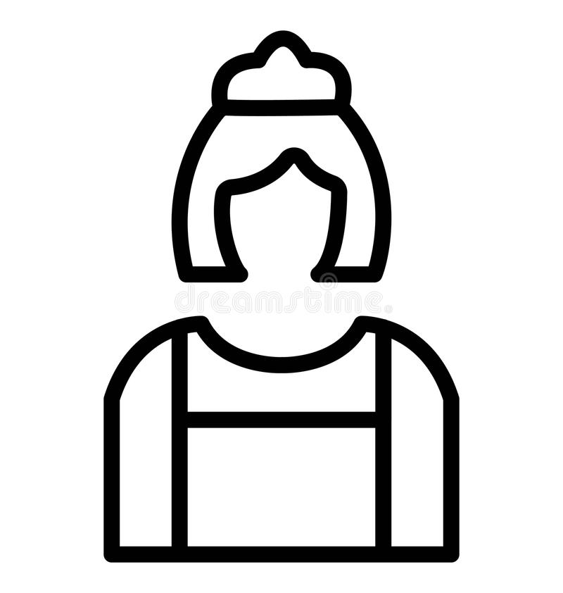 Butler féminin Isolated Vector Icon illustration de vecteur