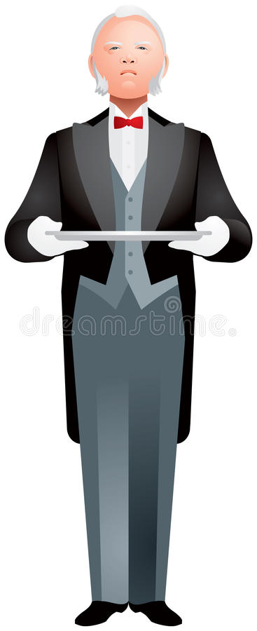 Butler Holding Tray illustration stock