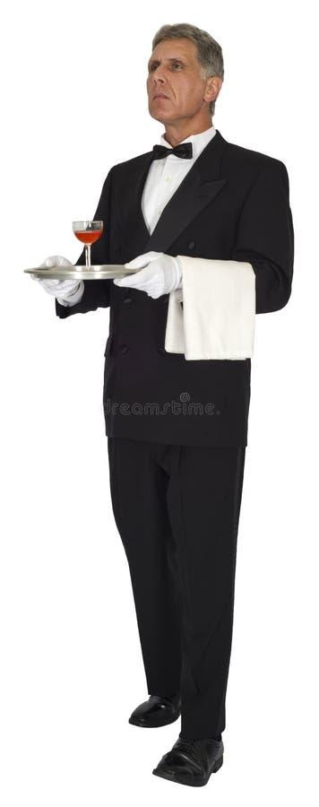 Butler, Kierowniczy kelner, serwer, luksus, pozycja, Odizolowywający fotografia royalty free