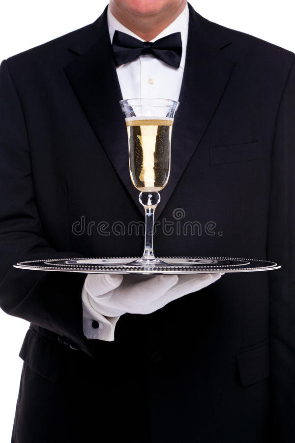 Download Butler Serving A Glass Of Champagne Stock Image - Image: 28305835
