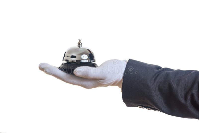 Butler usługa dzwon w gloved ręce zdjęcia royalty free