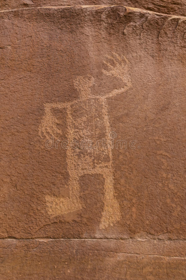 Butler Wash Wolfman Petroglyph photo stock