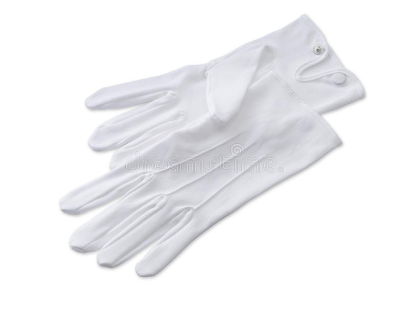 Butlers white gloves isolated on white with path stock image