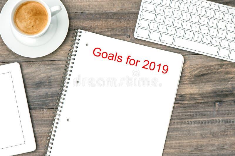 Buts étendus plats 2019 de café de carnet de table de bureau photo stock