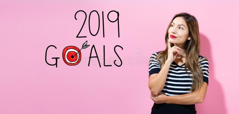2019 buts avec la jeune femme image stock