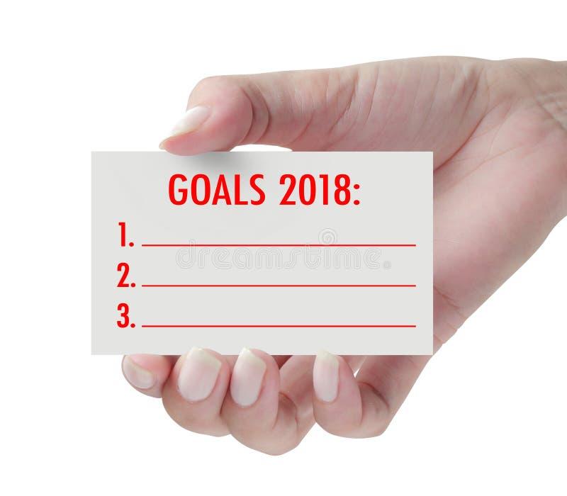 Buts 2018 avec la main photo libre de droits