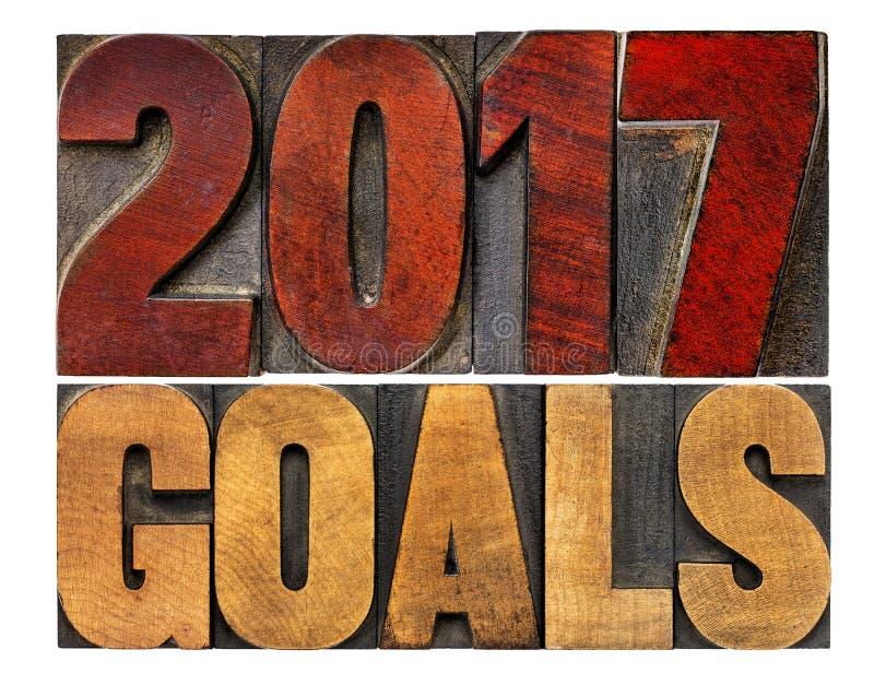2017 buts dans le type en bois d'impression typographique images stock