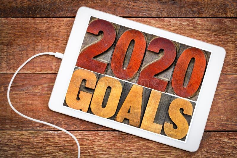 2020 buts dans le type en bois d'impression typographique photos stock