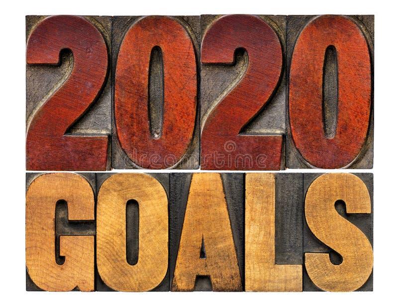 2020 buts dans le type en bois d'impression typographique photographie stock libre de droits