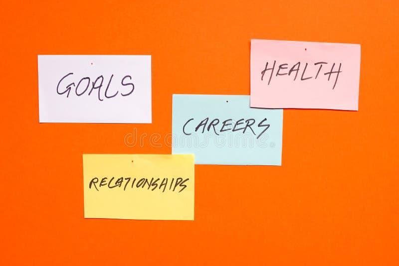 Buts dans les carrières, la santé et les relations photo stock