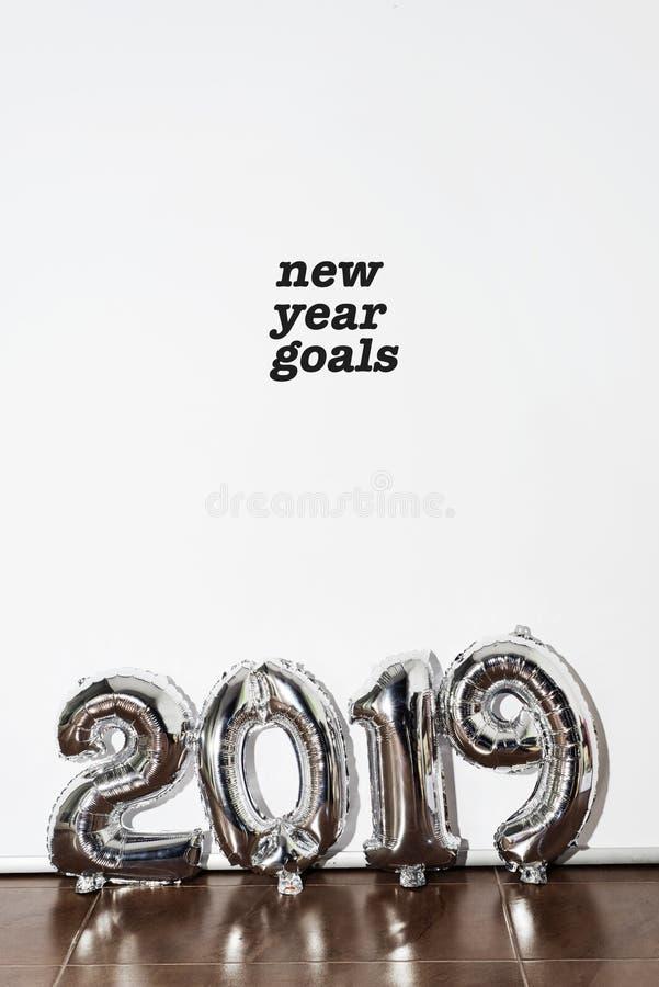 Buts 2019 de nouvelle année des textes photos stock