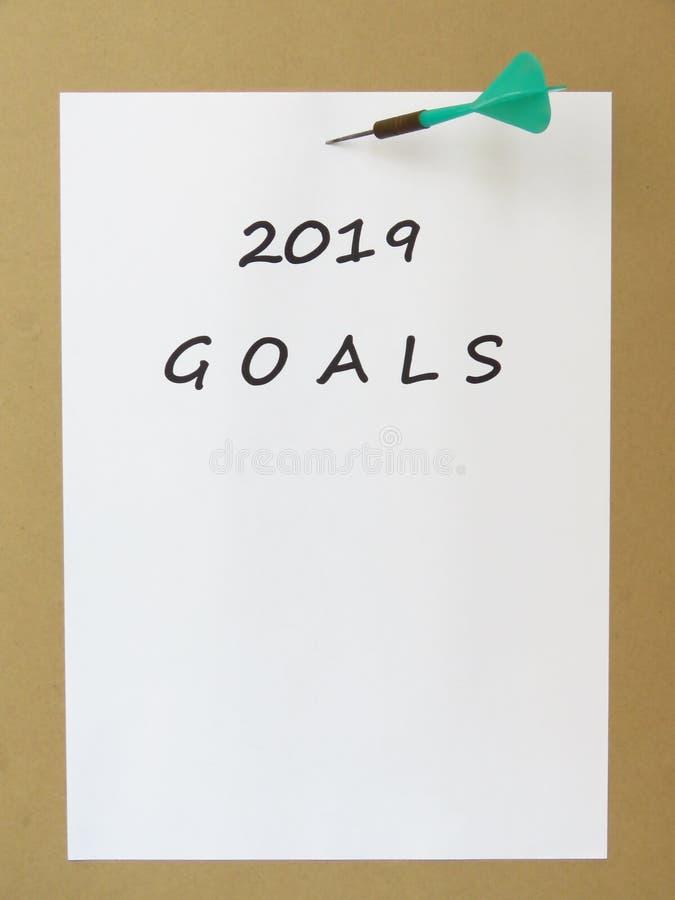 Buts pour l'année prochaine 2019 Concept de plans futurs photos libres de droits
