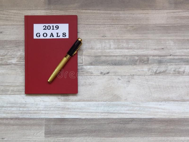 Buts pour l'année prochaine 2019 Plans futurs et concept de buts images stock