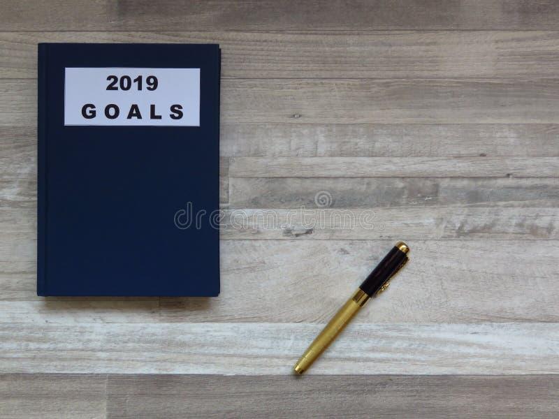 Buts pour l'année prochaine 2019 Plans futurs et concept de buts image libre de droits