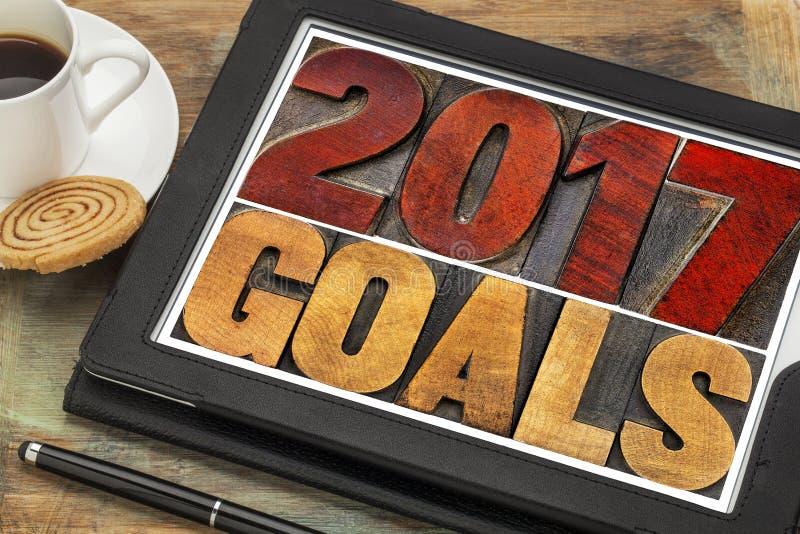 2017 buts sur l'écran de comprimé photographie stock libre de droits